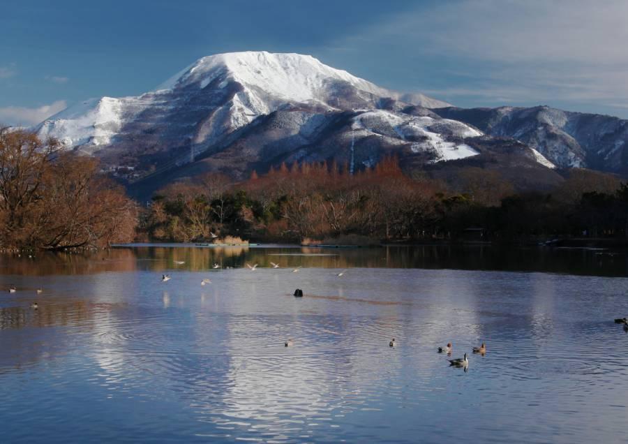 三島池望むから雪化粧の伊吹山 撮影:Taisei Ichien