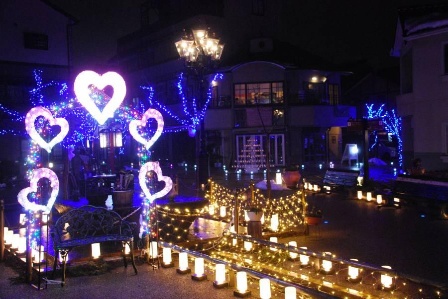 大正ロマンあふれる街並みの「 四番町スクエア」で彦根灯花会が開催
