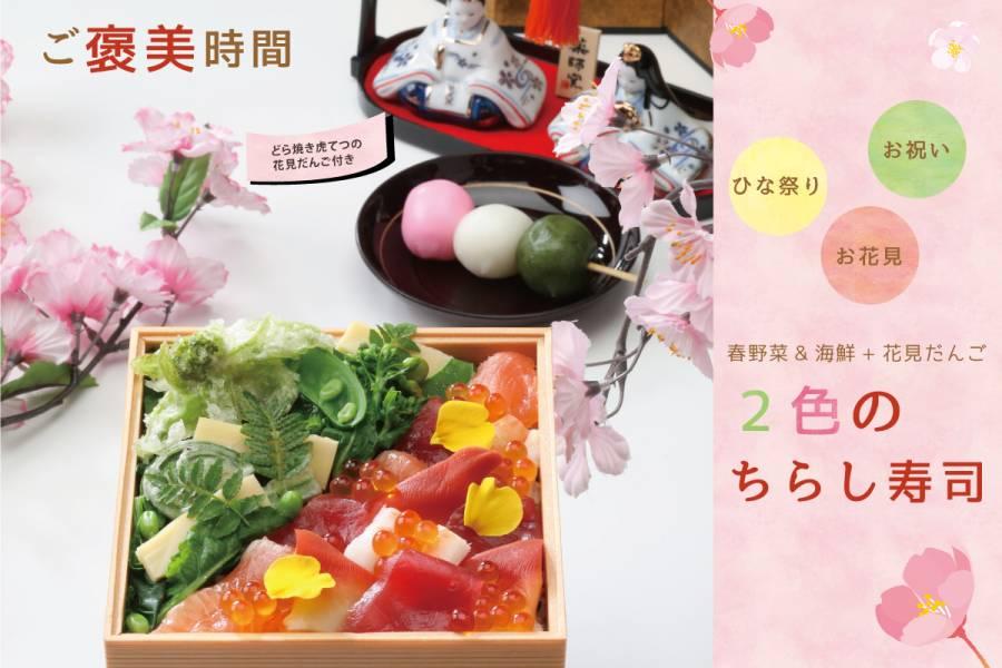 大人もご褒美時間 栄養たっぷり【春野菜&海鮮+花見だんご付き 2色のチラシ寿司】